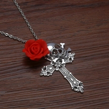 New Men's Skull Silver Cross Red Rose 60cm SP Chain Necklace Gothic Halloween DIY Cross Pendant Necklace Jewelry 1Pcs S8092