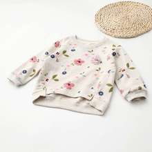 Kids Children Sweatshirt 2017 New Girls Boys Flower Print Pullover Baby Warm Coat Cotton Tops Fashion Clothes Long Sleeves 2-7Y(China)