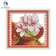 Joy sunday flower style Orchid gardeners cross stitch patterns free download dmc color chart  for home decoration