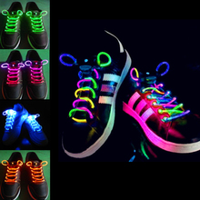 2pcs! Fashion LED Shoelaces Shoe Laces Flashing Light Up Glow Stick Strap Neon Shoe Strings Luminous Laces Disco Party Supplies(China)