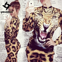 1428 Youaxon Animal Leopard Tiger 3D Print Hoodie  Fashion Costume for Women Sweatshirt