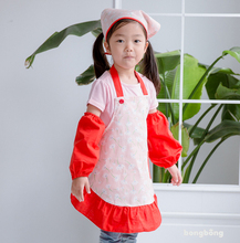 2017 Child Apron Kit Fashion Floral Pattern kids apron Children Eating Painting Performance Clothing Tablier Enfant New Design(China)