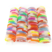 Wholesale 100 Pcs Size 5.5 CM Hair Jewelry Headbands Telephone Line Wire Plastic Hair Rope Ties for Women Hair Band Accessory(China)