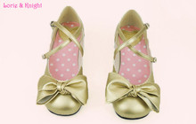 Japanese Sweet Style Champagne Bowtie Mary Jane Ballet Shoes Princess Dolly Lolita Soft Shoes