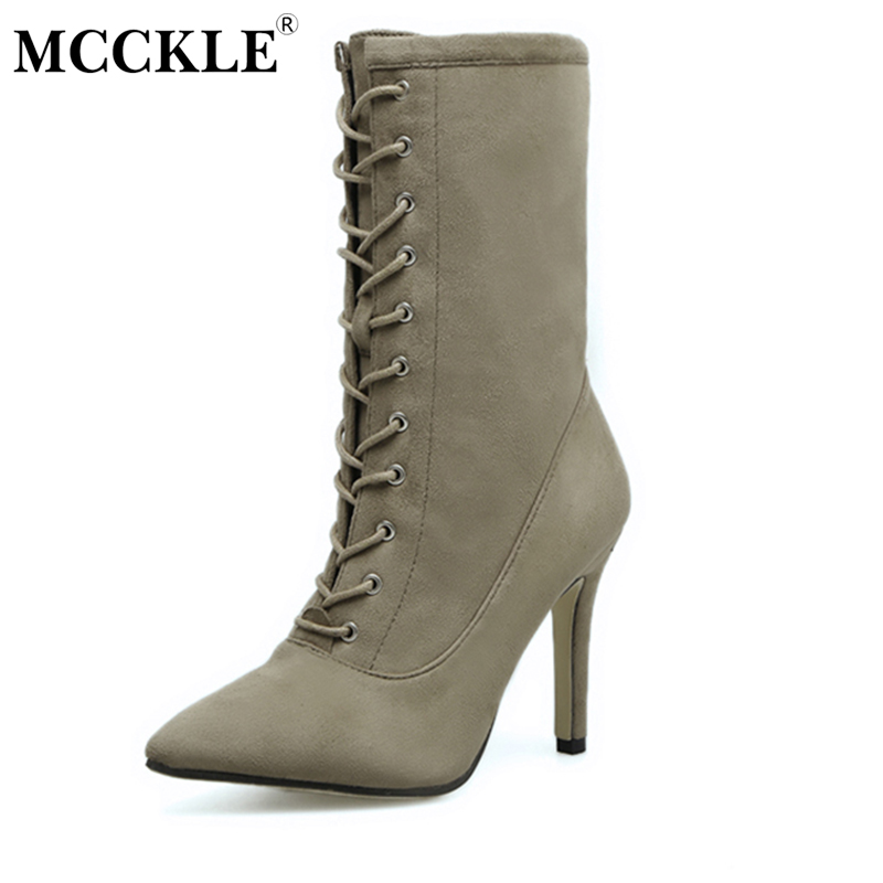MCCKLE Womens Sexy Lace Up Zip Pointed Toe Ankle Boots Ladies Fashion Autumn Flock Slim Solid Style Comfortable High Heels<br>