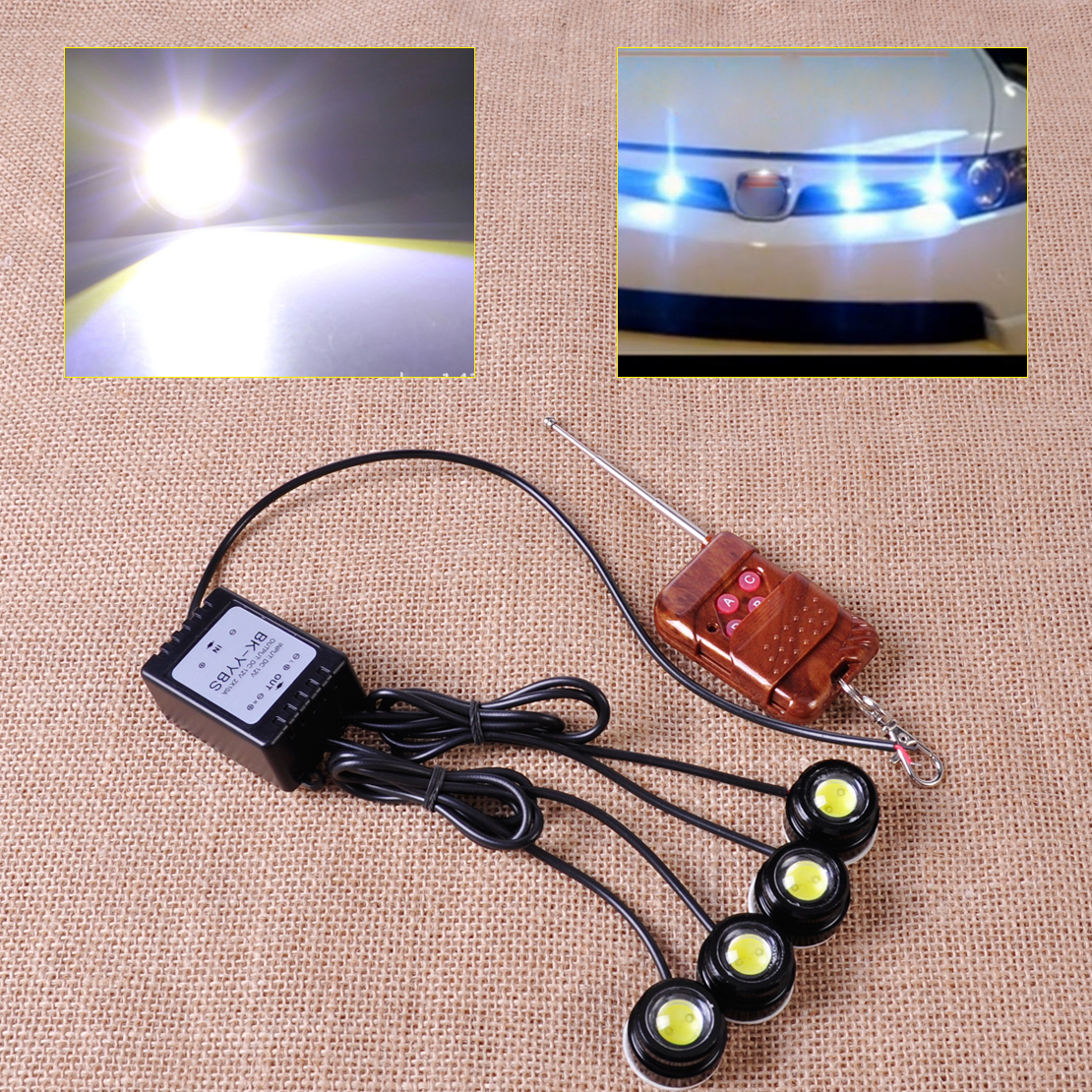 4in1 12V Eagle Eye LED Hawkeye Strobe Lights Lamp DRL Wireless Remote Control Fit for cars SUV Off-Road pickup truck motorcycle<br><br>Aliexpress