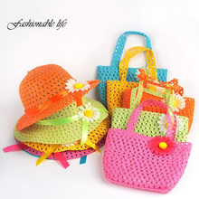Summer Hat Girls Kids Beach Hats Bags Flower Straw Hat Cap Tote Handbag Bag Suit Hot Selling