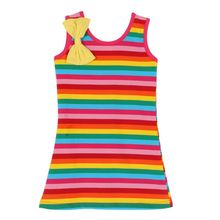 1-6Y Kids Girls Dress Rainbow & Black White Stripes Dress Baby Girls Sleeveless Cotton Brand Summer Girl Tutu Dresses LM58(China)