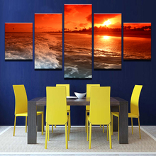 Canvas Pictures Home Decor Framework 5 Pieces Sunset Glow Tinted The Sky Red Paintings Beach Sea Waves Seascape Poster Wall Art(China)