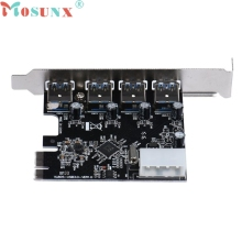 Top Quality Hot Sale New 4-Port USB 3.0 to PCI-E Card Express Expansion Card Adapter VIA Chipset 5Gbps JUL 11