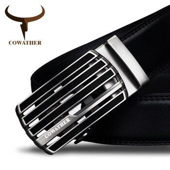 Cowather nuevo diseño de la vaca de la correa masculina de la hebilla automática cinturones de cuero genuino para los hombres de moda estilo de la pretina de envío gratis