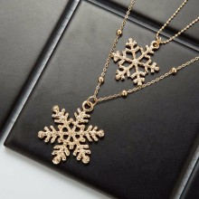 Buy TOMTOSH 2017 new Gold Snowflake fashion snowflake double long necklace Double Layers fine sweater chain Necklace & Pendant gift for $1.37 in AliExpress store