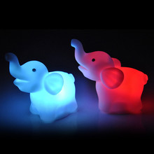2Pcs Lovely Elephant Shape Lamp 7 Color Changing LED with Battery Party Decor Wedding Decor C7724