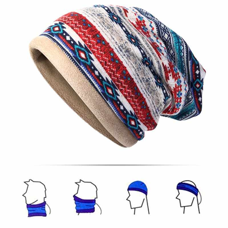 f85cc3a3d9c Detail Feedback Questions about Fall Winter Plush Printed Ponytail Beanies  Men Women Bonnet Cap Multi Function For Beanies Collar Scarf Dual Use Hip  Hop Ski ...