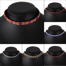 6 Styles Fashion Bohemian Boho Embroidery Pattern Choker Collar knitting Necklace Women Girl Party Short Necklace Jewelry