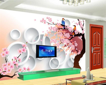 beibehang papel de parede Peach blossom birds solid circle wallpaper living room TV background wall home decoration painting(China)