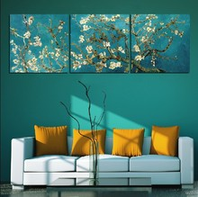 Free shipping high quality 3 pieces giclee prints Van Gogh painting Almond Blossom home decor canvas