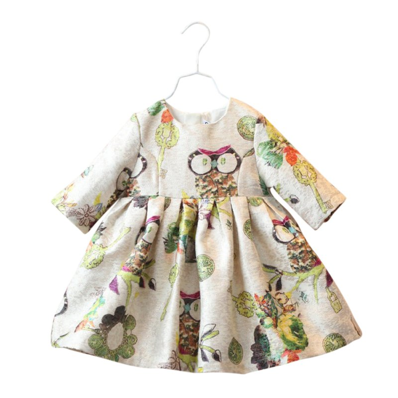 Newest Toddler Infant Baby Girls Half-Sleeve Owl Pattern High Waist Dress 2-6Y<br><br>Aliexpress