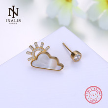 INALIS Fashion 925 Sterling Silver Sunny After the Rain Cloud Stud Earrings Jewelry Gift for Women Lover Party Dress Bijoux(China)