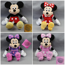 Free Shipping 1pcs Mickey Mouse Clubhouse Plush Stuffed Toys Mickey & 3 colors Minnie Toys for Children Birthday Gifts(China)