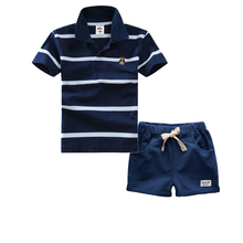High Quality Summer Polo Shirts Set Children Boys Clothing Sets Baby Kids Suits Shirt Pants Cotton Clothes Set(China)