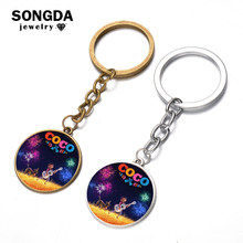 SONGDA Pixar Movies Coco Pendant Keychain Day of the Dead Holiday Skeleton Skull Miguel Character Art Picture Glass Dome Keyring(China)