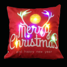 2017 New Unique Linen LED Merry Christmas Reindeer Cushion Cover Home Pillow Cushion Cover Pillowcase Single-sided Printing