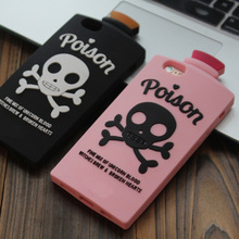 3D Cartoon Skull Potion Soft Silicone Back Cover For iPhone 5/5S/SE/5C/6/6S/6plus/6s Plus/7/7 Plus Phone Cases Funda Coque Capa