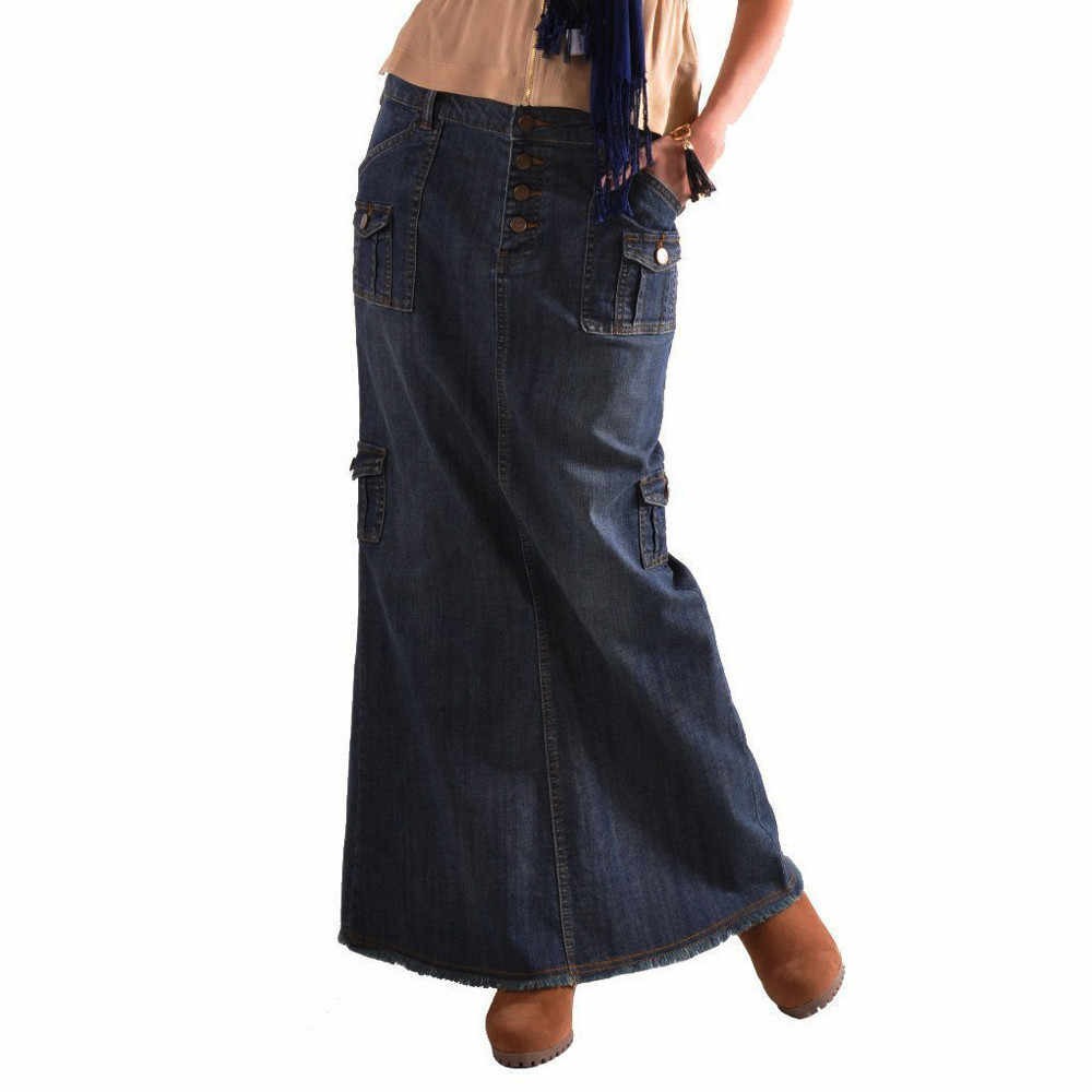 684975a471e Autumn Mid Waist Denim Skirt Female Straight Long Elastic Maxi Skirts Women  Button Pocket Casual Jeans