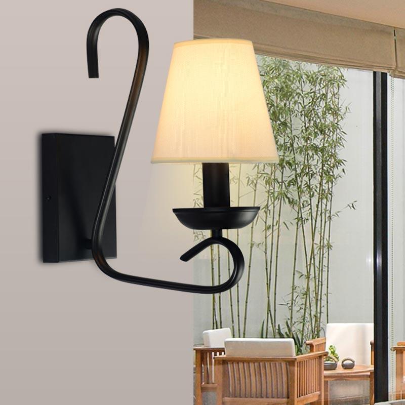 Vintage Wall Lamp Bedroom Bedside Hotel Sconces Black Iron Decor Art Light White Fabric Lampshade Indoor Lighting E14 110-240V<br><br>Aliexpress