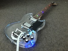 Popular Crystal Led light electric guitar bigsby bridge colorfully led acrylic guitar Grover tuning(China)
