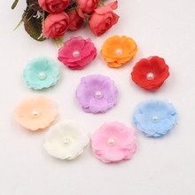 10pcs 4.5cm mini silk pearl chrysanthemum artificial flower gerbera wedding dress hat clothing accessories craft fake flowers(China)
