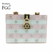 Boutique De FGG Pink & White Strped Crystal Women Fashion Day Clutches Handbag Metal Hardcase Box Tote Clutch Evening Party Bag(China)