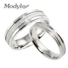 Fashion Jewelry High Quality 316L Stainless Steel Rings Silver-Color Dull Polish Circle Couple Ring Wedding Ring Engagement Ring(China)