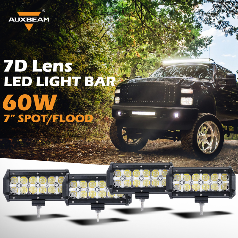 Auxbeam 7D Lens 7inch Auto 4pcs Led Light Bar CREE Chips OffRoad Driving Led Bar for Car SUV PickUp Truck Combo Beam Work Lights<br><br>Aliexpress