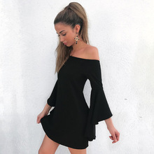 Buy Women Sexy Mini Dress Summer Slash Neck Flare Sleeve Short Slim Fit Dresses 2018 Fashion Casual Party Dresses Sheath Black Dress for $10.34 in AliExpress store
