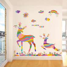 Cartoon Colorful Deer Wall Stickers Christmas Reindeer Rainbow Bird New Christmas Decoration Wall Stickers in the New Year(China)