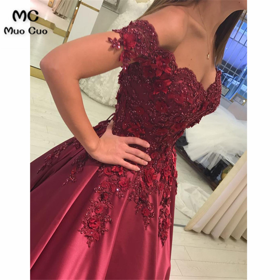 Lace Flower Off The Shoulder Satin Prom Dresses Ball Gowns3211