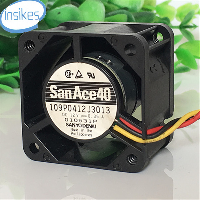 10PCS//LOT brand new For Sanyo 109P0412G3D073 4028 404028mm 12V 0.31A 3Wire 1U dc axial case Cooling Fan