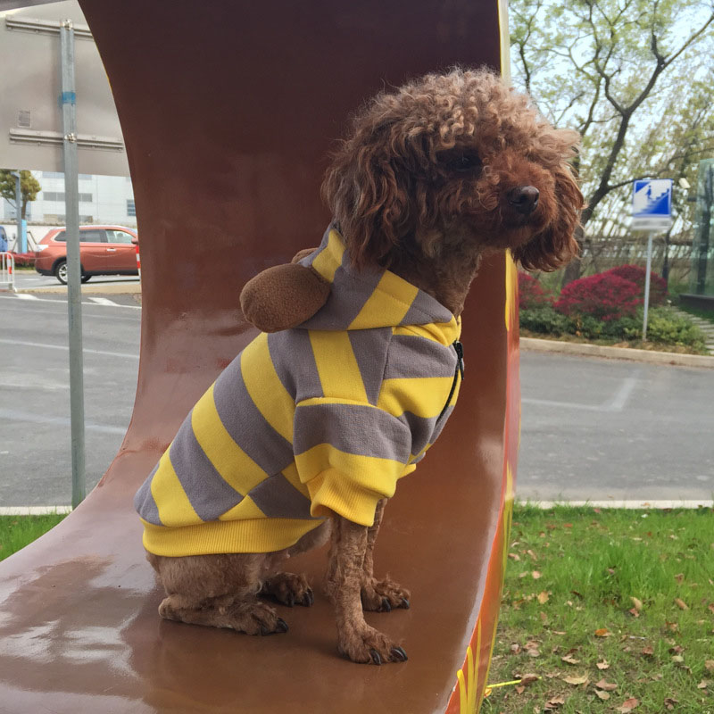 Striped Casual Dog Sweater Warm Soft Corrugated Cardigan Puppy Cat Hooded Pet Clothes Pets Products For Small Dogs Chihuahua