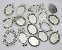 100Gram 30*40mm Inner Size Mix Designs Antique Silver & Antique Bronze Cameo Cabochon Base Setting Jewelry Accessories(China)