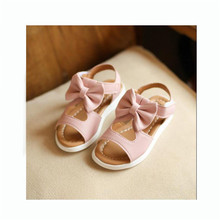 Princess Girls Sandals 2017 New Summer Big Bowtie Decor Children Shoes Solid Fashion Baby Kids Soft Hollow Beach Footwear(China)