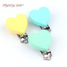 TYRY.HU Safe BPA Free Silicone Teething Clips Holder Stainless Steel Dummy Clips Candy Color Pacifier Heart Clips 3pcs/set(China)