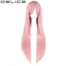 DELICE 32inch Gray Pink Women Long Straight Wig High Temperature Fiber Synthetic Hair Extension Party Cosplay Wigs