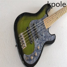 Sales promotion! kpole Grass green 5 string bass, pearl gray guard board, high quality bass products(China)
