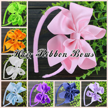 "Toplay 10pcs/lot 4.5"" Large Twisted bows Grosgrain Ribbon Hair Bows With Plastic Hairbands Girls Bow Headband For Teens Kids"