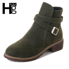희 GRAND Women Winter Fashion Ankle Boots Solid Color Faux Suede 플랫폼 버클 Shoes Lady Winter 봉 제 따뜻한 Boots XWX6862(China)