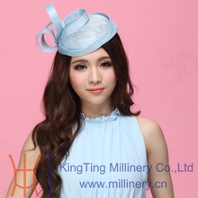 Free Shipping Fashion Women Fascinator Hat Hair Accessory Wedding Hair Accessories Hairdress Sinamay Fabric Sinamay Ribbons Blue(China)