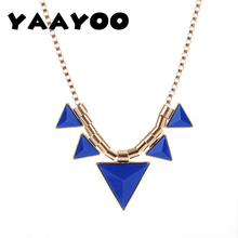 YAAYOO 2017 Season Women Color Black/Green/Blue/Orange/Yellow/Rose Plastic 5 Geometric Pendants Necklaces For Punk Girl NL121(China)