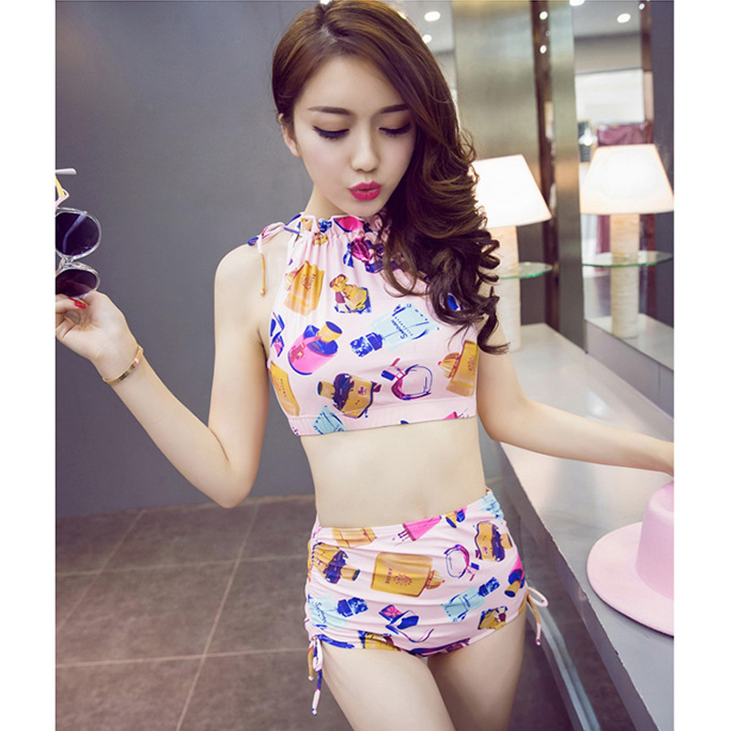 2017 new Korean style high waist gather bikini set sexy four angle swimsuit three-piece set beach vacation party swimsuit<br>